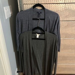 Bundle of two gray open cardigans
